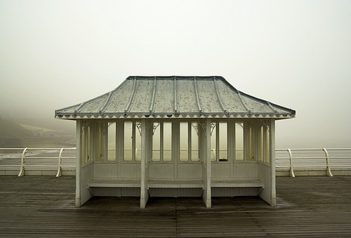 Shelter on Cromer Pier in fog, Cromer, Norfolk