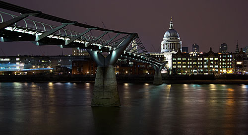 View across Thames towards St. Paul's Cathedral and the Millenium Bridge, London