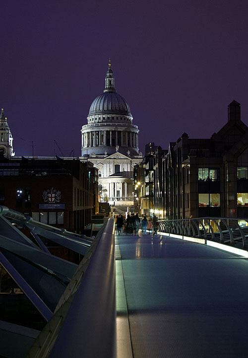 View towards St. Paul's Cathedral from the Millenium Bridge, London